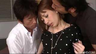 Busty Tiara Ayase in pink and black sucks a cock while pounded