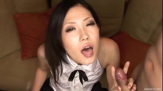Yui in thigh high black stockings sucks on a hard pole