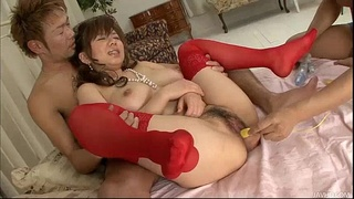 Aoi in red thigh high stockings bends over to be banged by two dicks