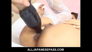Japanese cougar Naami Hasegawa in white stockings fucked