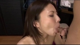 Japanese tutor giving blowjob