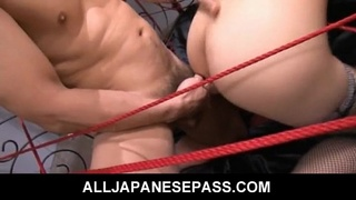 Haruka is tied up and takes three cocks in her pussy