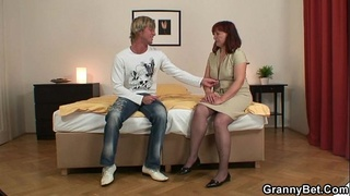 Redhead oldie gets lured into sex
