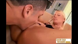Busty blond mature MILF ass fucking and sperm drinking