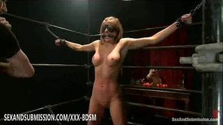 Bondage pretty blonde babe standing gives fucking from behind