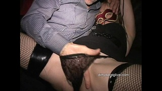 Amateur cougar Ann squirts all over herself in public