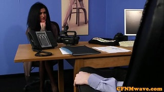 CFNM milf sucking cock at the office