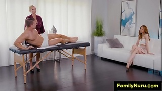 Erotic massage with mom and daughter