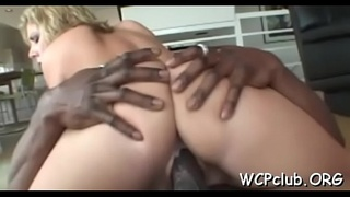 White chick sucks chocolate strapon and gets it in soaked snatch