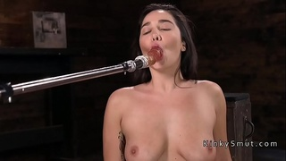 Natural busty babe gets anal fucking machine