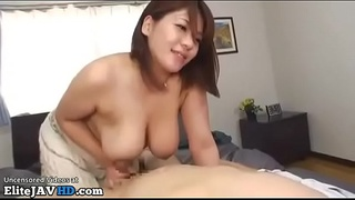 Busty Japanese fucks bf in parents home
