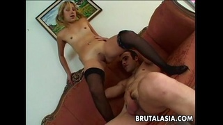 Small titty schoolgirl gets her ass dick plugged