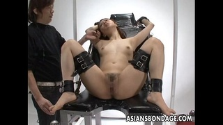 Tied up and submitted to some pussy stimulation