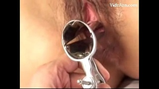Asian Girl Getting Speculum To Her Pussy Fucked With Toys On The Bed