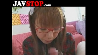 Japanese Girl with Glasses Blowjob POV Facial Cumshot