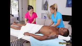 Asian Masseuses Massage Clients Big Black Cock