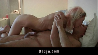 oldnadyoung,balls-licking,doggy-style,maid,cumshot,cum-swallow,young