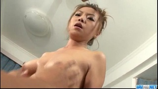 Rei Serizawa swallows after a harsh porn show