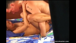 Horny Asian babe blowjob and fucking white cock!