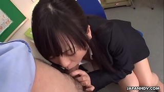 Asian babe has a cock that drains in her mouth