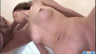 Natsumi Mitsu slides big dong up her throat and hairy pussy